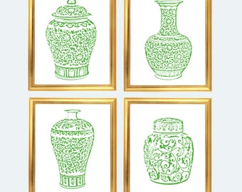 Green Ginger Jar Digital Art Prints, INSTANT DOWNLOAD, Green and White Chinoiserie Vases Set of 4