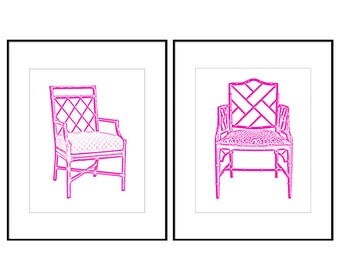 Pink Chinoiserie Chair Digital Art Print, INSTANT DOWNLOAD, Bamboo Chair Print, Chippendale Chair, Palm Beach Chic, Hamptons Decor  Set of 2