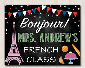 French Teacher Classroom Door Sign, Bonjour Printable French Classroom Decor, Custom Teacher Sign, French Teacher Gifts, Teacher Door Hanger