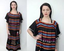 VALENTINES DAY SALE vintage Ethnic Dress black folk 90s Ecuador peasant day mexican southwestern maxi woven shift navajo house wife stripe o
