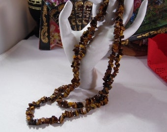 Pretty Tiger Eye Chips Necklace With No Clasp- Just Pull over Head