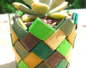 25% OFF Origami plant made of recycled cardboard paper towel tubes - strong & sturdy, long-lasting - shades of green, yellow, brown