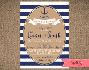 Nautical Baby Shower Invitation Ahoy It's a Boy Invitation Anchor Invite Gold and Navy Stripes DIY Printable Invite by Sparklefly Paperie