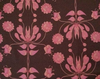 Damask Fabric by the Yard, Floral, Quilting, Cotton, Large Print, Pink, Peach, Chocolate, Brown, FreeSpirit, Girl, Nursery, Baby, Decor