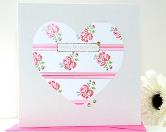 Mother's Day card, handmade Mothers day card, personalised Mother's Day card - floral heart card - flowers card Mothers day