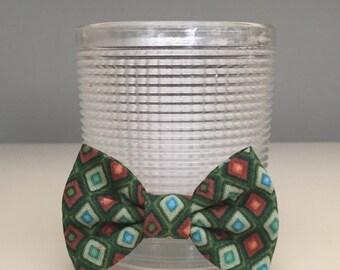 Tiny Dog Bow / Bow Tie - Diamond Pattern Green Rust Orange Blue