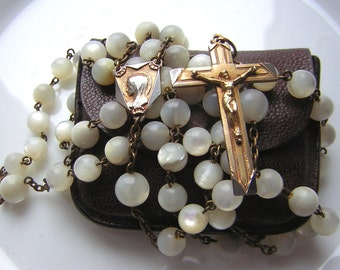 Antique religious rosary,  Mother of pearl  round beads, Virgin Mary medal & cross gold-plated (awls), with leather pouch, 17.72""