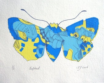 Original Screenprint**4 colors**BUTTERFLY***Printed on heavy Khadi paper