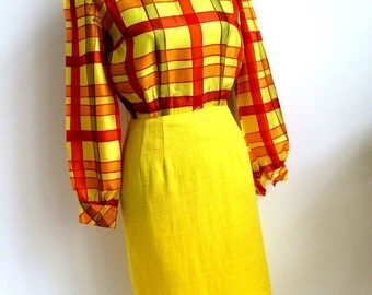 1960s Red & Yellow Vintage frock by Kim Kory *FREE SHIPPING*