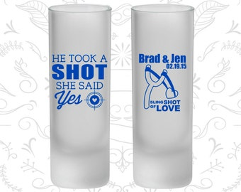 He Took a Shot, She Said Yes, Frosted Shooters, Sling Shot of Love, Bullseye, Spring Wedding (558)