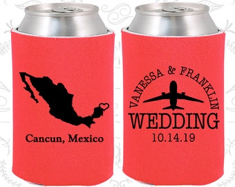 Mexico Wedding Gifts, Coolies, Destination Wedding Favors, Mexico Favors, Cancun Save the Date (184)