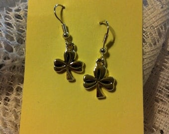 Silver plated shamrock pierced earrings.