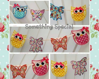 Pretty Owl Butterfly & Bow Bunting / Banner