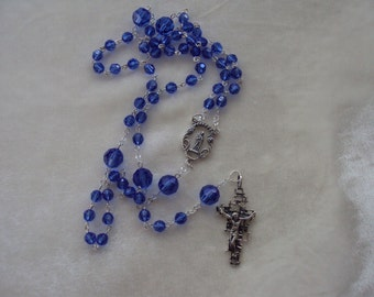 Sterling Silver Catholic Rosary withSapphire Swarovski Crystal Beads