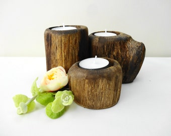 Wood Candle Holders, Tree Branch Candle Holder, Log Candle Holders, Rustic Candle Holders, Oak Candle Holders, Set of 3