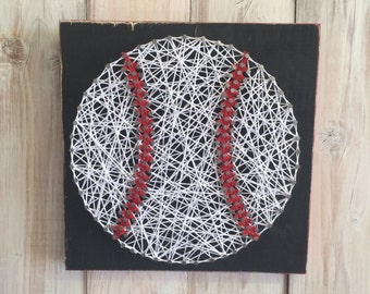 Baseball String Art, Baseball Decor, Sports Decor, Sports Nursery, Boy's Room Decor, Sporty Gift, Sports Baby Shower, Baby Shower Gift