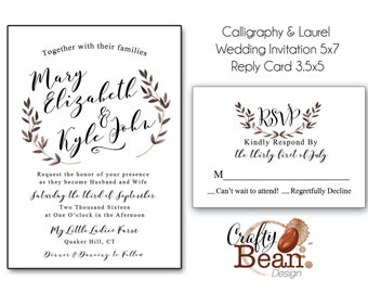 Calligraphy and Water Color Laurel Elegant Black & White Wedding Invitation
