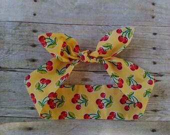 Yellow cherries headband bandana top knot hair bow made by FlyBowZ!