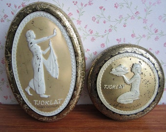 Vintage Tjoklat Camée Pastilles Tins Containers Storage Oval Round Metal Canisters Gold White Lady Dutch Chocolates Amsterdam Holland 1960's
