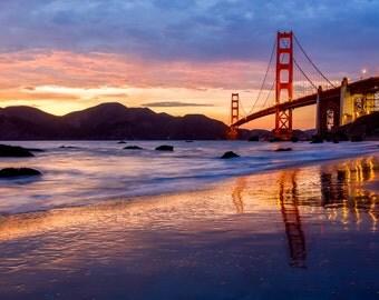 San Francisco Golden Gate Bridge Print Art - Beautiful Sunset Picture of the San Fran landmark - Vibrant Stunning Colors - Red, Blue, Yellow