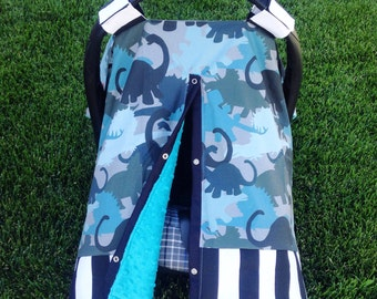 Blue, black stripe, camo dinosaur, teal minky dot car seat canopy cover