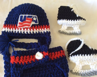 USA Hockey -Baby Crochet Hockey Earflap Hat, Diaper Cover, and Skate Booties