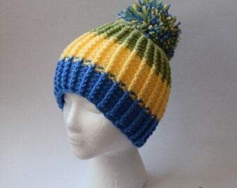 Ribbed Pom Pom Beanie (Crochet)