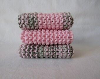 Set of 3 Pink & Green Camo Hand Made Wash Cloths