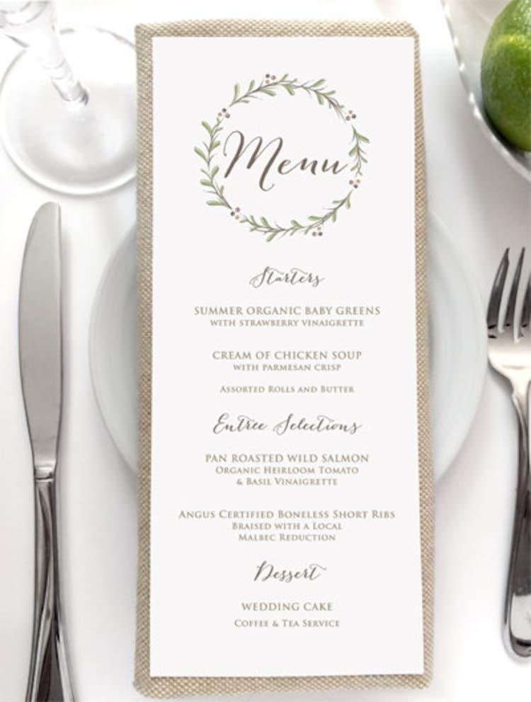 Wedding Menu Card Rustic Wedding Menus By SideStreetDesigns