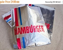 CLEARANCE - 30% OFF 10 Retro Foil Hamburger Bags - Additional Items Ship Free!!!