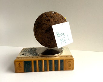 Mid-Century Globe Shaped Cork Pen and Pencil Holder, Message Holder