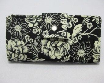 Black and White  Womens Clutch,  Ladies Floral  Wallet, Handmade Wallet,