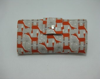 Womens Wallet, Handmade Ladies Wallet With Foxes,  Bifold Clutch