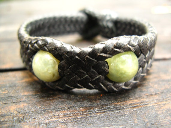 Leather Woven Bracelet with Jade Beads