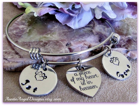 Personalized Pet Sympathy Jewelry, Custom Wire Bangle, Pet Lover Bracelet, Heart Paw Print Stamped Bracelet, Dog Mom Jewelry,  Cat Mom Gift