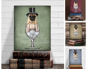 Pug gift - Pug in Wine Glass Pug print gift for pug owner pug lover pug mom anniversary gifts for boyfriend gift for dad pug print wall art
