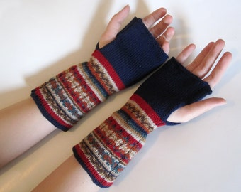 Navy Blue Wool Knit Fair Isle Fingerless Gloves