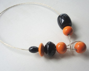 Offer * * black and orange Choker necklace with rope Clothesline