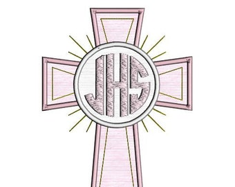 Cross double applique instant download. Cross Monogram Frame applique. Cross Embroidery Applique Design.  Easter applique multiple sizes.