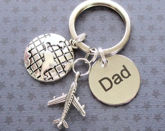 Father's Day gift - Gift for Dad - Aeroplane keyring - Pilot gift - Custom Dad keychain - Gift for traveller - Dad keyring - World travel