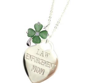 Silver Police Mom Lucky Clover Necklace - (Free Shipping)