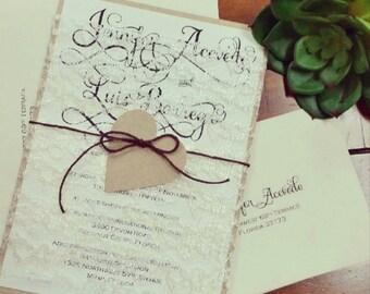 Beautiful Lace Wrap Invitation