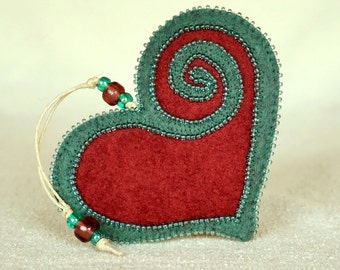 Beaded Plum and Teal Wool Felt Heart Ornament #2, Mother's Day Heart, Wedding Favor, Proposal Idea, Anniversary Gift *Ready to ship
