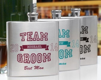 Personalized Team Groom Flask