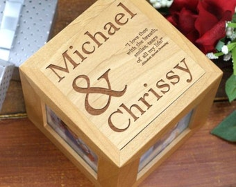 Personalized I Love Thee Photo Cube