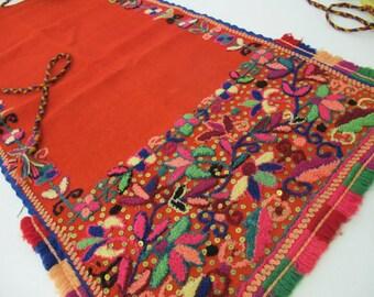 Antique Bulgarian Apron Folk Art Folk Clothing Embroidery Wool Wall Hanging