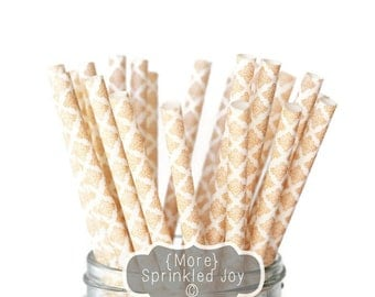 PEACH DAMASK Paper Straws, Multipack, Peach, Damask, Neutral, Vintage, 25 Straws, Wedding, Party, Birthday, Bridal Shower, Baby Shower