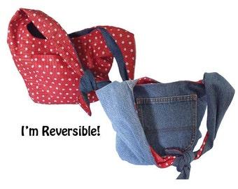 Hobo / Shoulder Bag / Boho Bag / Denim Purse/  Upcycled from Jeans - Reversible Orange with White Dots