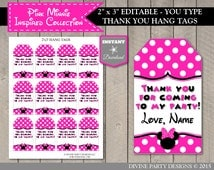 INSTANT DOWNLOAD Hot Pink Mouse Editable Printable Thank You Hang Tags / You Type Name / Hot Pink Minnie Collection / Item #1733
