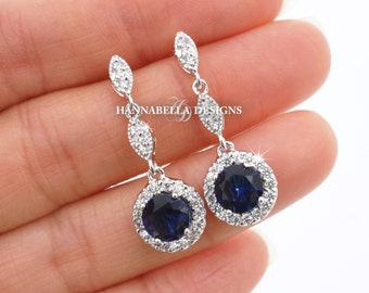 Gigi - Sapphire Blue Wedding Earrings, Bridal CZ Earrings, Cubic Zirconia Dangle Earrings, Vintage Wedding Jewelry, Bridesmaids Earrings